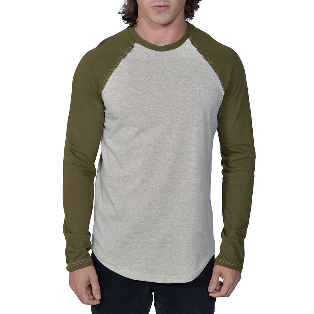 50/50 Long Sleeve Baseball Raglan Tee | Linen/Dark Olive | USA Made - Asheville Apparel
