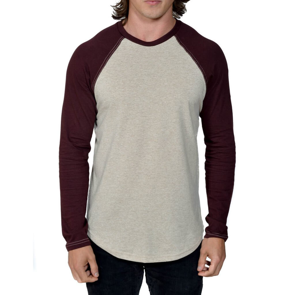 50/50 Long Sleeve Baseball Raglan Tee | Linen/Oxblood | USA Made - Asheville Apparel