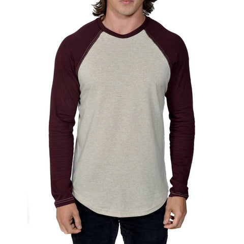 Men's 50/50 Long Sleeve Baseball Raglan Tee - Linen/Oxblood - USA Made - Asheville Apparel