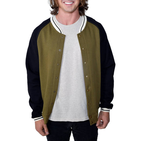 Men's Organic Cotton Baseball Jacket - Dark Olive/Black - USA Made - Asheville Apparel
