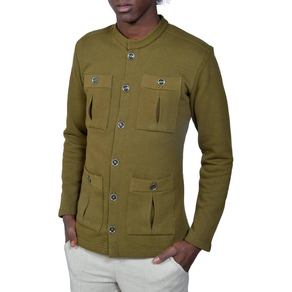 Men's Organic Cotton Field Jacket - Dark Olive - USA Made - Asheville Apparel