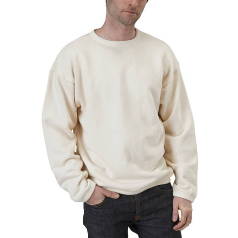 Men's Organic Cotton Drop Shoulder Crewneck Sweatshirt - Natural - USA Made - Asheville Apparel