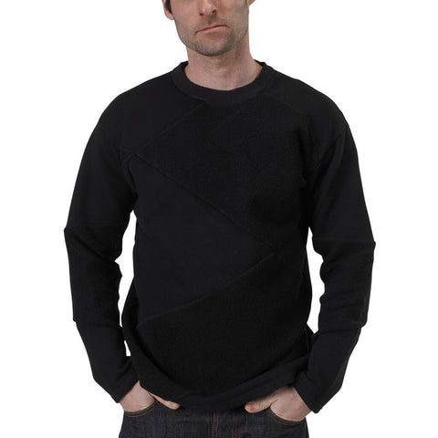 Men's Organic Cotton Asymmetrical Crewneck Sweatshirt - Black - USA Made - Asheville Apparel