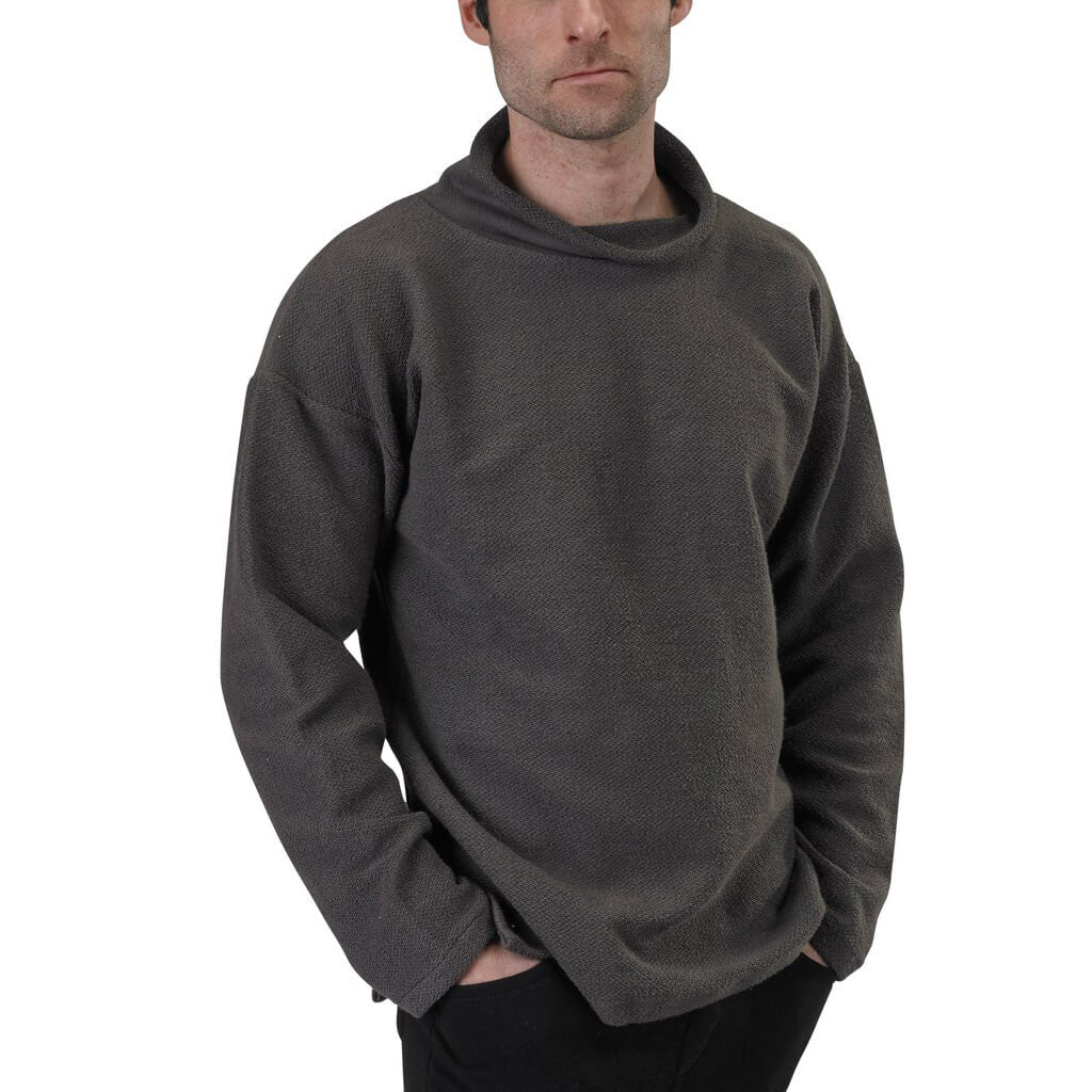 Men's Organic Cotton Terry Weekender Sweatshirt - Graphite - USA Made - Asheville Apparel