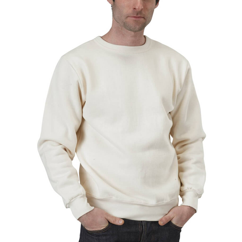 Organic Cotton Lightweight Fleece Crewneck Sweatshirt | Natural | USA Made - Asheville Apparel