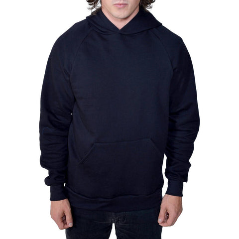 Men's Organic Lightweight Fleece Hoodie - Black - USA Made - Asheville Apparel