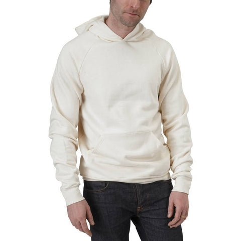 Men's Organic Lightweight Fleece Hoodie - Natural - USA Made - Asheville Apparel