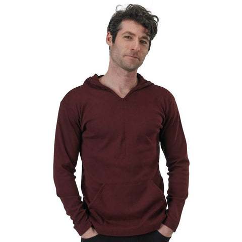 Men's Organic Cotton Rib Hoodie - Oxblood - USA Made - Asheville Apparel