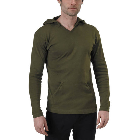 Men's Organic Cotton Rib Hoodie - Spirulina - USA Made - Asheville Apparel