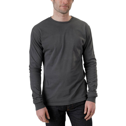 Men's 100% Organic Cotton Long Sleeve Favorite Crewneck Tee - Graphite - USA Made - Asheville Apparel