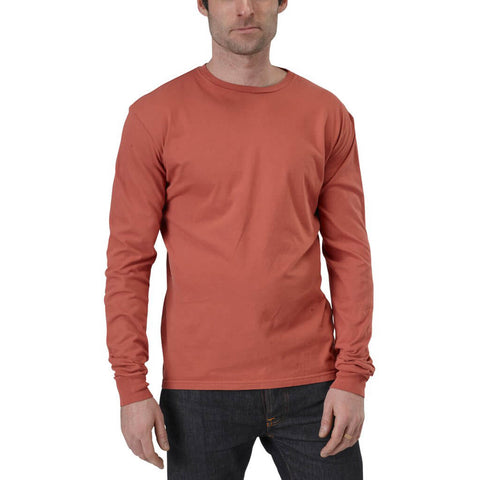 Men's 100% Organic Cotton Long Sleeve Favorite Crewneck Tee - Hot Sauce - USA Made - Asheville Apparel