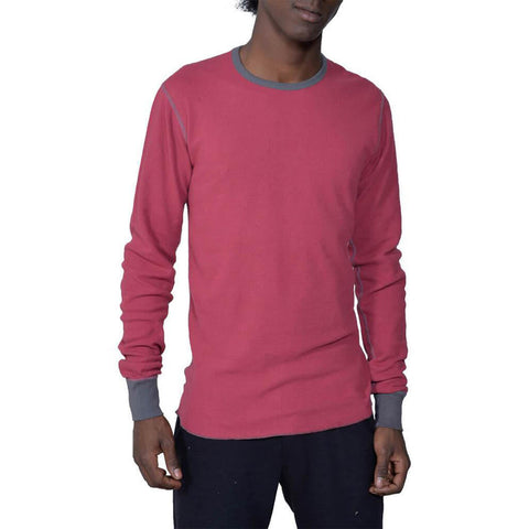 Men's Organic Cotton Long Sleeve Lightweight Thermal - Earth Red - USA Made - Asheville Apparel