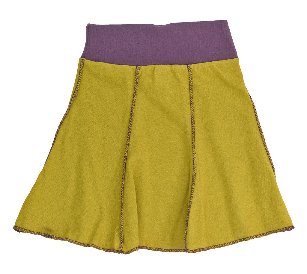 Kid's Organic Cotton Short Seamed Flare Skirt - Arras Green - USA Made - Asheville Apparel