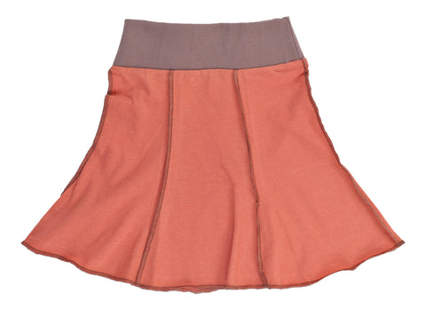 Kid's Organic Cotton Short Seamed Flare Skirt - Coral - USA Made - Asheville Apparel