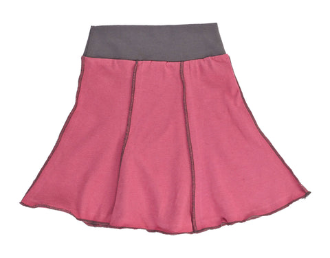 Kid's Organic Cotton Short Seamed Flare Skirt - Mellow Rose - USA Made - Asheville Apparel