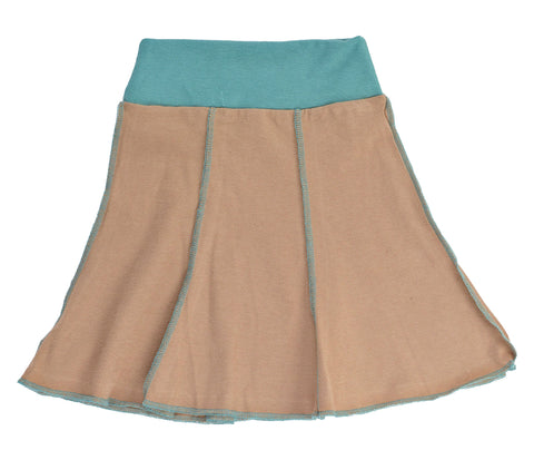 Kid's Organic Cotton Short Seamed Flare Skirt - Taupe - USA Made - Asheville Apparel