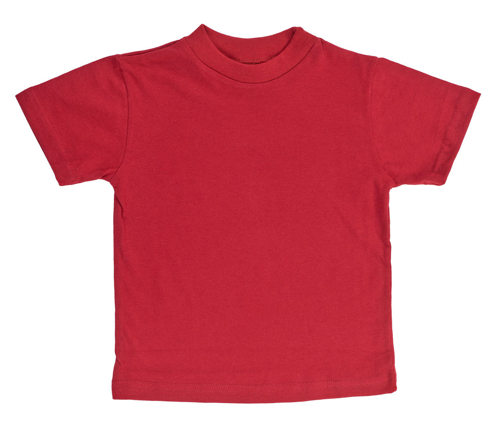Kid's Organic Cotton Short Sleeve Crewneck Tee - Cranberry Red - USA Made - Asheville Apparel
