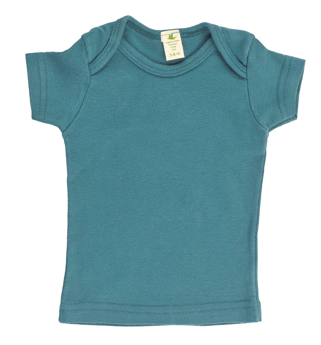 Kid's Organic Cotton Short Sleeve Overlap Tee - Solitude Green - USA Made - Asheville Apparel