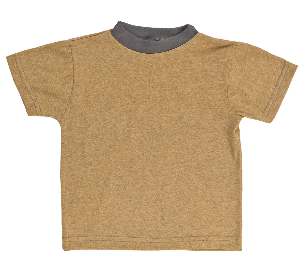 Kid's 50/50 Short Sleeve Ringer Tee - Honey Heather - USA Made - Asheville Apparel
