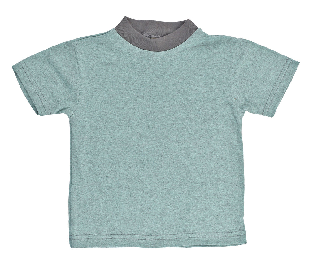 Kid's 50/50 Short Sleeve Ringer Tee - Seafoam Heather - USA Made - Asheville Apparel