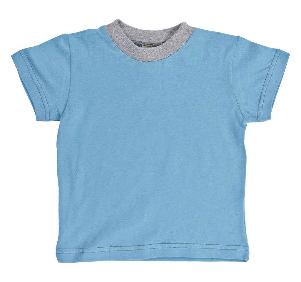Kid's Organic Cotton Short Sleeve Ringer Tee - Shadow Blue - USA Made - Asheville Apparel