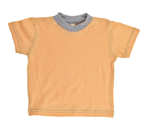 Kid's Organic Cotton Short Sleeve Ringer Tee - Sherbet Orange - USA Made - Asheville Apparel