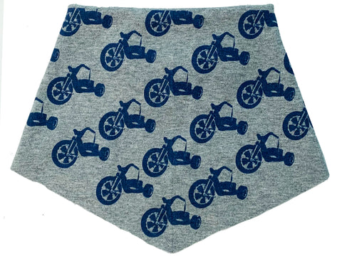 Kid's | Organic Cotton | Filter Infinity Bandana | Blue Big Wheel | Heather Grey | USA Made