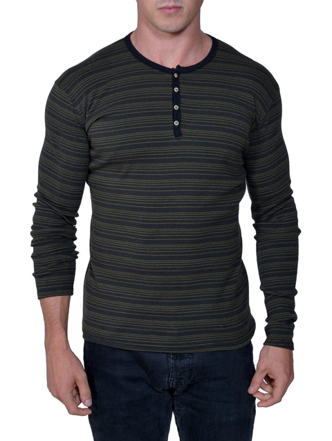 Men's Organic Cotton Striped Long Sleeve Henley - USA Made