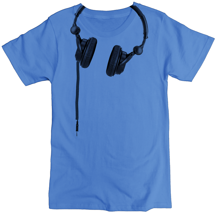 Men's Organic Cotton Classic Crewneck Tee - Headphones Graphic - USA Made - Asheville Apparel