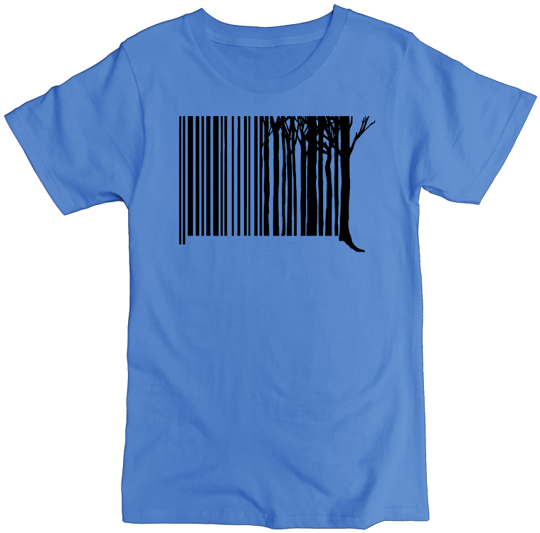 Men's Organic Cotton Classic Crewneck Tee - Tree Barcode Graphic - USA Made - Asheville Apparel