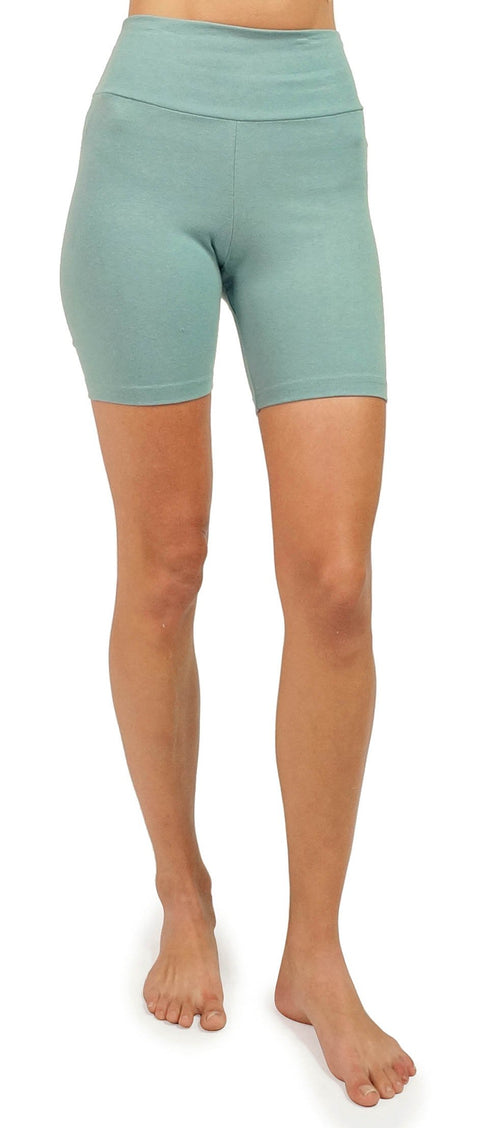 Women's Organic Cotton/Lycra Yoga Shorts - Smokey Teal - USA Made