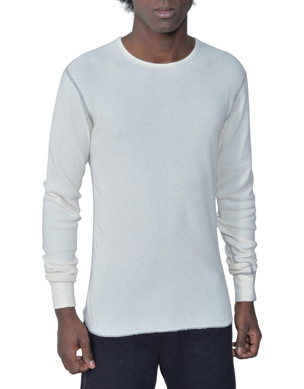 Men's Organic Cotton Long Sleeve Lightweight Thermal - Natural - USA Made - Asheville Apparel