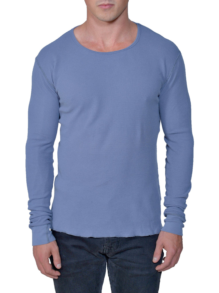 Men's Organic Cotton Long Sleeve Lightweight Thermal - Storm - USA Made - Asheville Apparel
