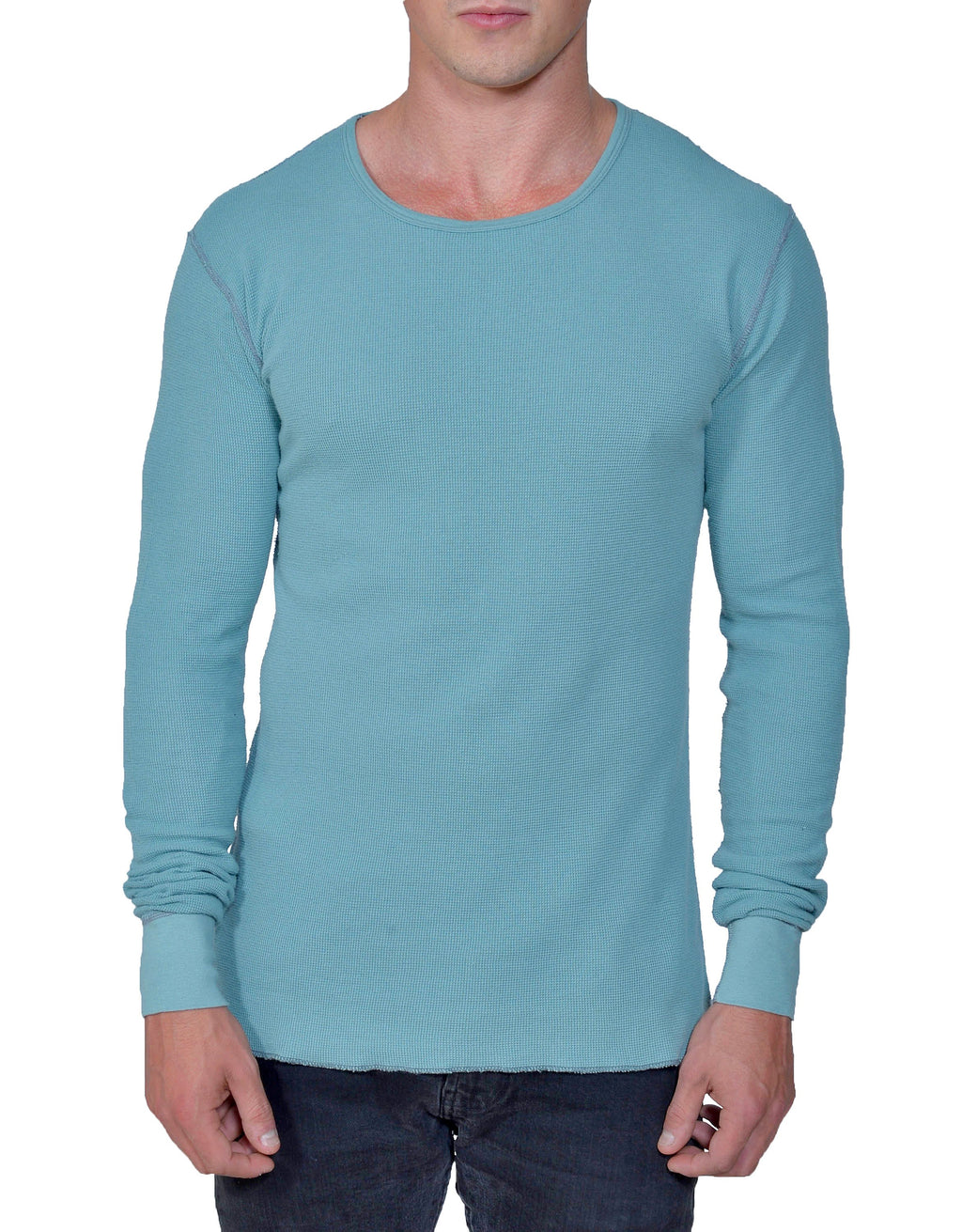 Men's Organic Cotton Long Sleeve Lightweight Thermal - Smokey Teal - USA Made - Asheville Apparel