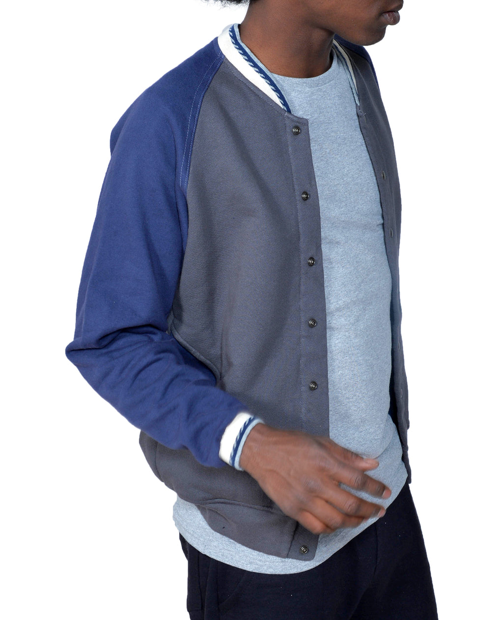 Men's Organic Cotton Baseball Jacket - Graphite/Marine - USA Made - Asheville Apparel