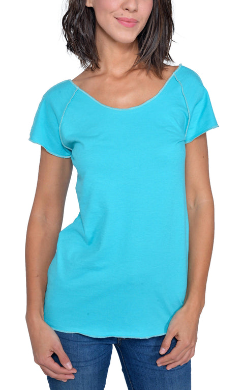 Organic Cotton | Short Sleeve Raw Raglan Tee | Turquoise | USA Made - Asheville Apparel