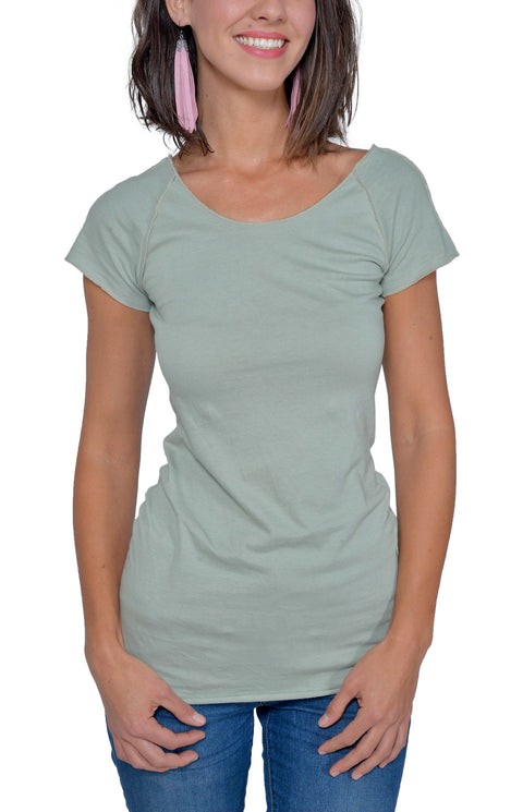 Women's Organic Cotton Short Sleeve Raw Raglan Tee - Sage - USA Made