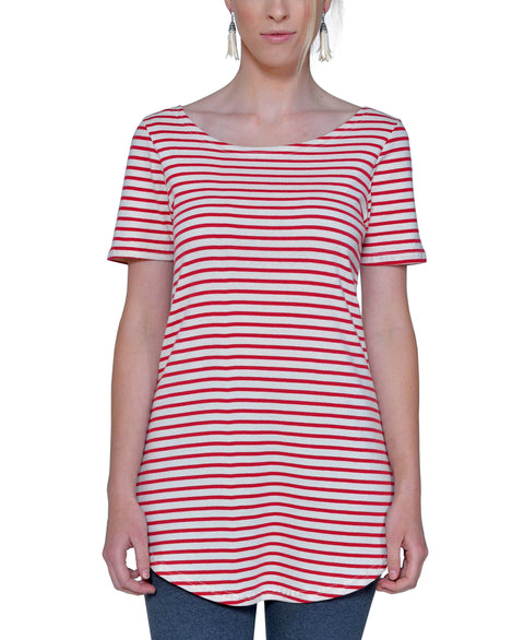 Women's Organic Cotton Short Sleeve Maddi Tee - Natural/Cranberry Stripe - USA Made
