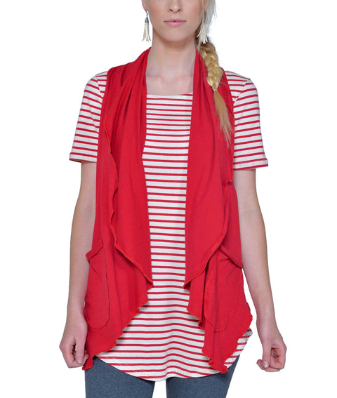 Women's Organic Cotton Ultra Lightweight Draped Vest - Carmine - USA Made