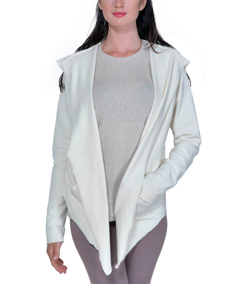 Women's Organic Cotton Claudine Drape Hoodie - Natural - USA Made