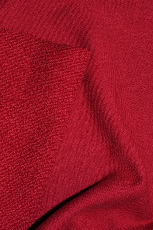 "Sample Swatch | 10356 | Heavy Weight French Terry |  Cranberry  | 100% Organic Cotton | 58-60"" Open Width 