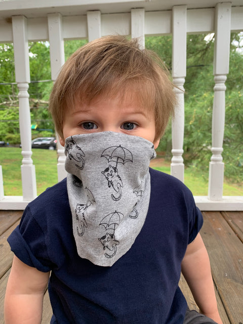 Kid's | Organic Cotton | Filter Infinity Bandana | Raining Cats | Heather Grey  | USA Made