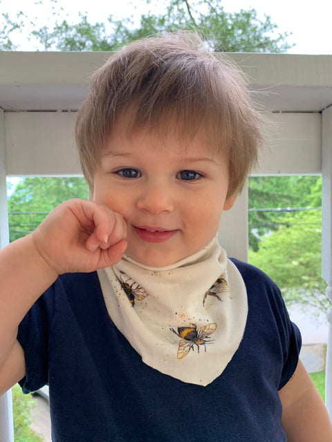 Kid's | Organic Cotton | Filter Infinity Bandana | Honey Bee | Natural  | USA Made