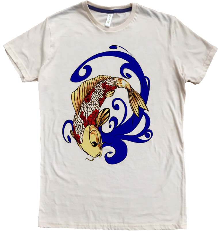 Men's Organic Cotton Favorite Crewneck Tee - Koi Fish 1 Graphic - USA Made - Asheville Apparel