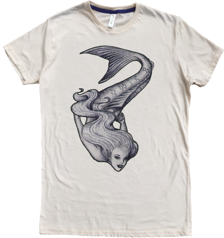 Men's Organic Cotton Favorite Crewneck Tee - Swimming Mermaid Graphic - USA Made - Asheville Apparel