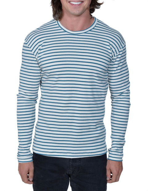 Organic Cotton Striped Perfect Long Sleeve Tee | Natural/Flemish Blue | USA Made - Asheville Apparel