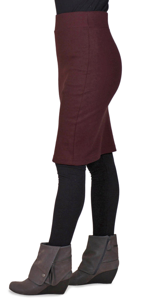 Women's Organic Cotton Long Andy Skirt - Oxblood - USA Made