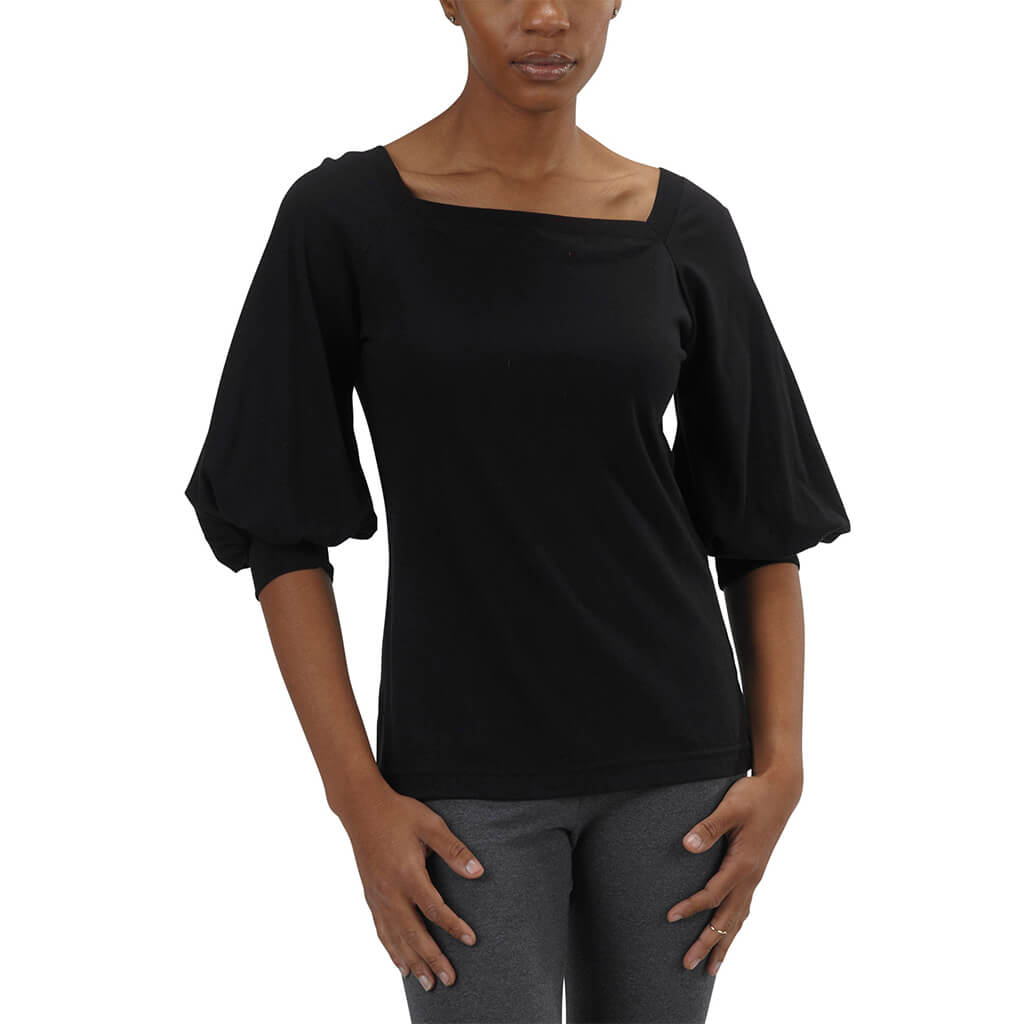Organic Cotton Romantic Top | Black | USA Made - Asheville Apparel