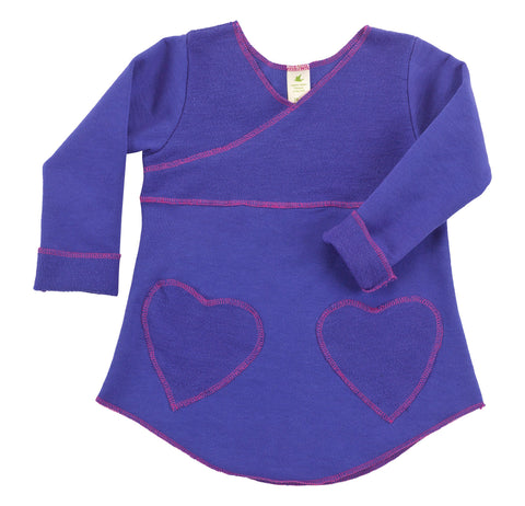 Kid's Organic Cotton Heart Pocket Tunic Sweatshirt - Blueberry - USA Made - Asheville Apparel