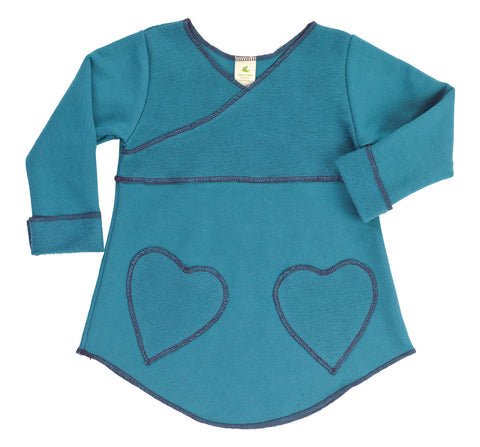 Kid's Organic Cotton Heart Pocket Tunic Sweatshirt - Hydro - USA Made - Asheville Apparel